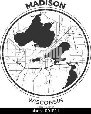 T-shirt map badge of Madison, Wisconsin. Tee shirt print typography label badge emblem. Vector illustration - Stock Photo