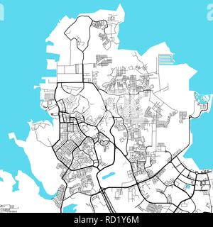 Batam Indonesia light map. Vector map for infographic and marketing print projects - Stock Photo