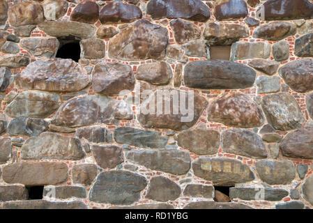 Part of the wall of the Spaso-Preobrazhensky Solovetsky Monastery. Solovetsky archipelago, White Sea, Russia - Stock Photo