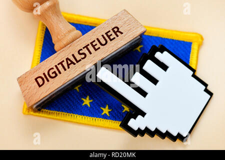 EU flag with stamp and cursor, EU-digital tax, EU-Fahne mit Stempel und Cursor, EU-Digitalsteuer - Stock Photo