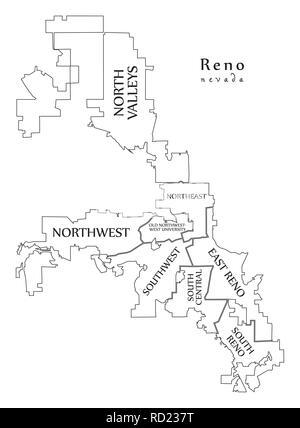Reno Nevada City Map With Neighborhoods Grey Illustration Silhouette Shape Stock Vector Image Art Alamy