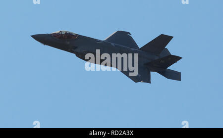 Lockheed Martin F-35 Lightning II, stealth single seat fighter performing at Selfridge ANG air show - Stock Photo