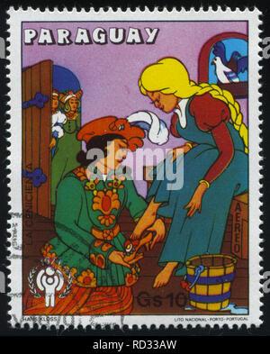 RUSSIA KALININGRAD, 22 APRIL 2017: stamp printed by Paraguay, shows Cinderella, circa 1979 - Stock Photo