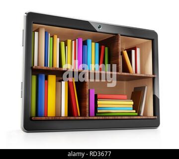 Books inside generic tablet PC. 3D illustration. - Stock Photo