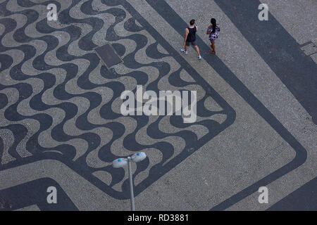 High angle view of the designed pavement at Copacabana beach bouldevard which stretches over 4km in length - Stock Photo
