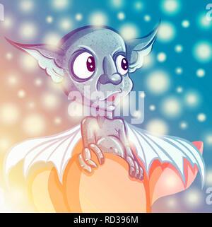 Happy cartoon gremlin monster. Halloween Goblin or blue Troll and big ears. illustration - Stock Photo