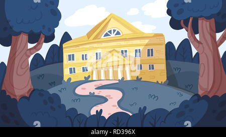 buildings in perspective with trees. Home, work office and building . Hand drawn cartoon illustration. - Stock Photo