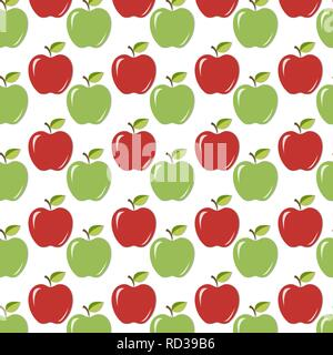 Seamless background/texture with red and green juicy apples with leaves and shadow. Vector illustration, EPS10. - Stock Photo