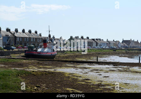 Irvine Harbour when the tide is out. - Stock Photo