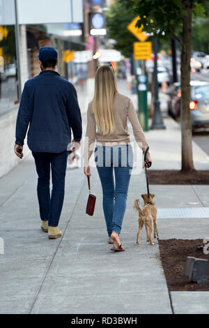 Young beautiful fashionable couple a man and a woman in great shape are walking with a dog along the street of a modern city, enjoying the city landsc - Stock Photo