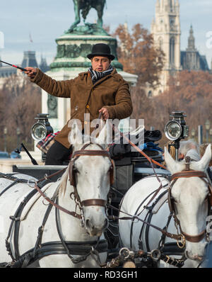 Vienna horse and carriage at Hofburg palace, Austria. - Stock Photo