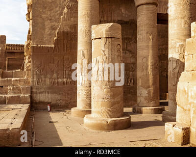 Kom Ombo Temple ruins dedicated to the crocodile God Sobek in Aswan Egypt - Stock Photo