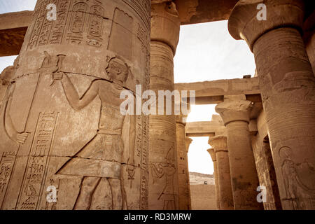 The double Temple of Kom Ombo near Aswan Egypt exterior column details - Stock Photo
