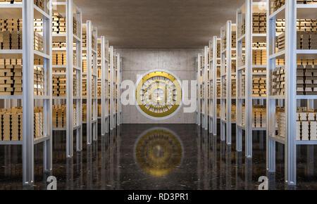 golden ingot in bank vault 3d rendering - Stock Photo
