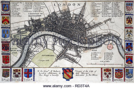 Map of London before the Great Fire of 1666, etching by Bohemian etcher Wenceslaus Hollar from 1600s - Stock Photo