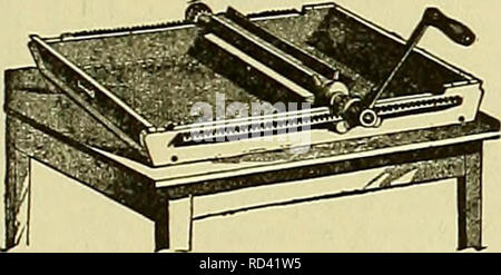 . Cyclopedia of farm animals. Domestic animals; Animal products. Fig. 202. Combined chum and butter-worker. realize the importance of this part of their work. Many lots of otherwise good butter are sold every day at a discount becauseof the careless methods of packing. The de- mands of the market on which the butter is sold should be studied carefully and the pack- age made of a size and form that will meet those demands. Butter in tubs.—If the butter is to be put up in tubs, the pack- ing should be done so that the butter will be solid throughout its entire mass. Too frequently the butter is  - Stock Photo