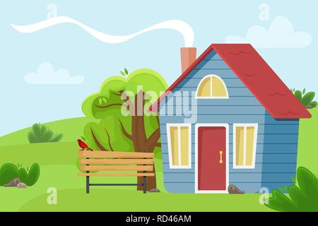 Village cottage in the field. Flat vector illustration. Countryside landscape. - Stock Photo