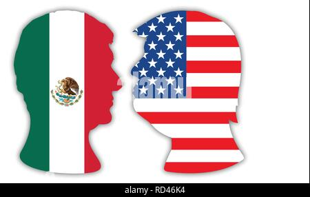 Presidents Obrador and Trump portraits, silhouettes with national flags, vector illustration - Stock Photo