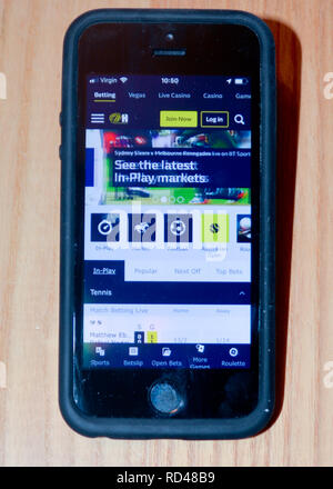 William Hill  sports gambling app on a smart phone - Stock Photo
