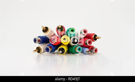 Audio and video cables for television and music players hi-fi. Isolated on a white background with a clipping path. - Stock Photo