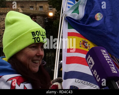 London, UK. January 16th, 2019. Anita Harris from Wales, has come to London for two days, flying the European flags near the Houses of Parliament in support of those remaining in the EU, being interviewed by one of the many foreign press reporters. Credit: Joe Kuis / Alamy Live News - Stock Photo