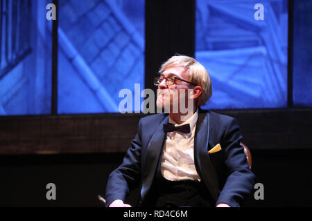 Madrid, Spain. 16th Jan, 2019. Miguel Cubero seen playing Goblety Nerciat.Theater ''La AbadÃ-a'' produces a comedy written by Jean-Paul Sartre, Nekrassov, a fierce criticism of the fourth power and its ideological positioning for political or economic convenience. Credit: Jesus Hellin/SOPA Images/ZUMA Wire/Alamy Live News - Stock Photo
