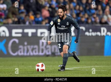Madrid, Spain. 16th Jan, 2019. Real Madrid's Isco during the King's Cup round of 32 second leg match between Leganes and Real Madrid, at the Butarque stadium, in Leganes, Madrid, Spain, 16 January 2019. Credit: Ruben Albarran/EFE/Alamy Live News - Stock Photo