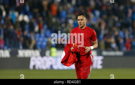 Keylor Navas (Real Madrid) during the Copa del Rey Round of 8 second leg match between CD Leganes and Real Madrid CF at Butarque Stadium in Leganes, Spain. (Final score CD Leganes 1 - Real Madrid 0) - Stock Photo