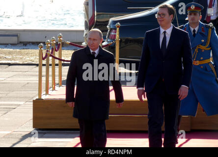 Belgrade, Serbia. January 17th 2019. President of Russian Federation, Vladimir Putin on official visit to Belgrade, Serbia. President Putin with President Aleksandar Vucic during the official intonation of the anthem of Russia and Serbia. Credit: Ognjen Stevanovic/Alamy Live News - Stock Photo
