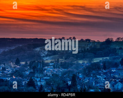 Wirksworth, Derbyshire Dales. 17th Jan 2019. UK Weather: deep red sunset on a cold winters day over Wirksworth in the Derbyshire Dales, Peak District National Park Credit: Doug Blane/Alamy Live News - Stock Photo