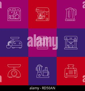 Kitchen utensils and household appliances linear icons - Stock Photo