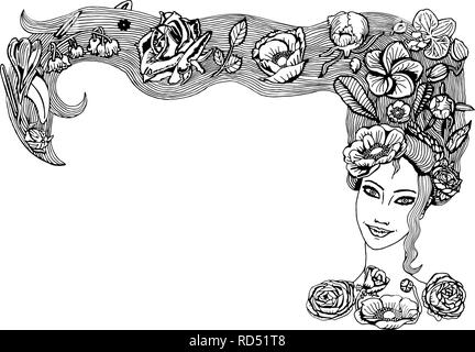Beautiful Young Girl Face With Long Hair Colorful Flowers Buds And Leaves In Hairstyle Spring Girl With Peony Rose Orchid Anemones Flora Stock Vector Image Art Alamy