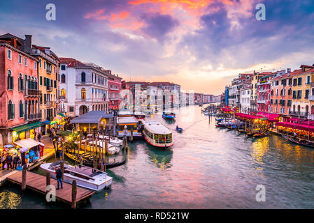 Venite, Italy  - Night image with Grand Canal, from oldest bridge Rialto, Venezia. - Stock Photo