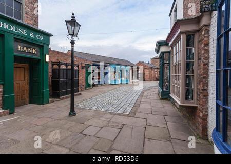 A Victorian street scene at Preston Park Museum,Eaglescliffe,Stockton on Tees,England,UK - Stock Photo