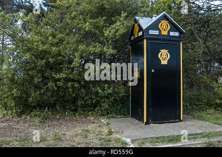 Old Fashioned AA Telephone Box - Stock Photo