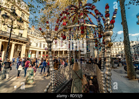 The colourful Cuploa or archway made made from Glass beads at The Entrance to Palais Royal – Musée du Louvre Metro station at  Place Colette ,Paris - Stock Photo
