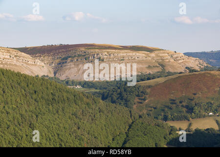 Vale of Llangollen looking toward the Eglwyseg escarpment from the Horseshoe Pass Llangollen in Denbighshire - Stock Photo