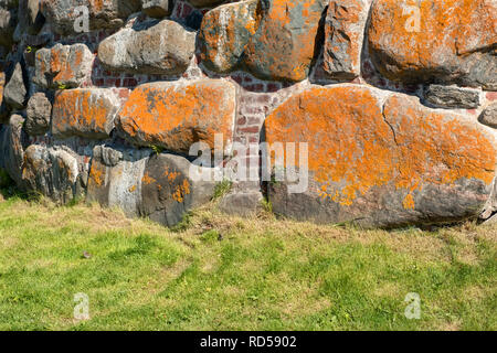 Part of the wall of the Spaso-Preobrazhensky Solovetsky Monastery. Solovetsky archipelago, White Sea, Russia - Stock Photo