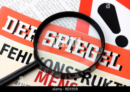 Magazine Spiegel under the magnifying glass, uncovered case of fraud with reports by employees, Magazin Der Spiegel unter der Lupe, aufgedeckter Betru - Stock Photo