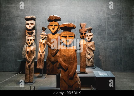 Chemamull wood statues at Pre-columbian Art Museum - Santiago, Chile - Stock Photo