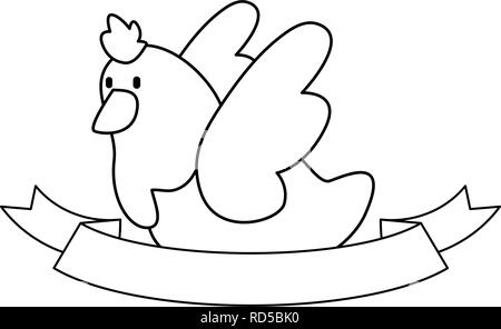 dove ribbon on white background vector illustration outline - Stock Photo