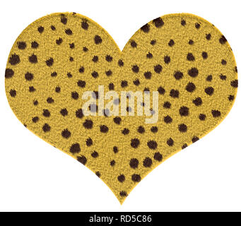 Cheetah fur textured heart, yellow with brown dots - Stock Photo