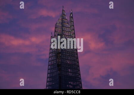 The Shard is a super tall skyscraper in London and Europe with 95 story designed by Italian architect Renzo Piano with official opening in 2013 - Stock Photo
