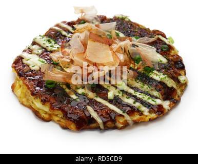 Okonomiyaki is a Japanese savory pancake containing a variety of ingredients. - Stock Photo