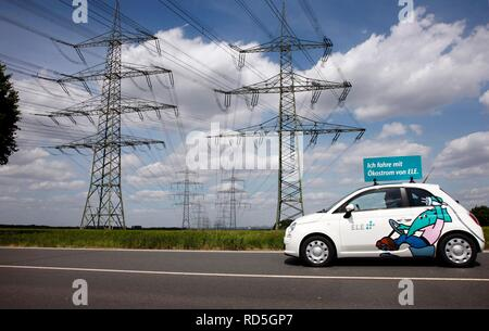 Electric car of the Emscher Lippe Energie GmbH, ELE, type Fiat 500, Gelsenkirchen, North Rhine-Westphalia - Stock Photo