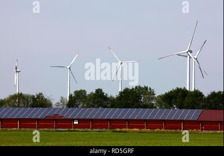 Wind farm, solar energy produced by solar panels on a large stable near Rhede Ems, Lower Saxony - Stock Photo