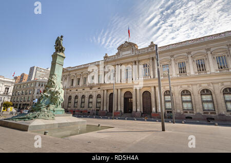 Former Congress at Plaza Montt-Varas Square - Santiago, Chile - Stock Photo