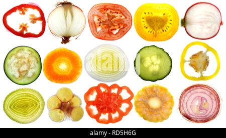 Various fresh vegetables, cross-sections and slices - Stock Photo