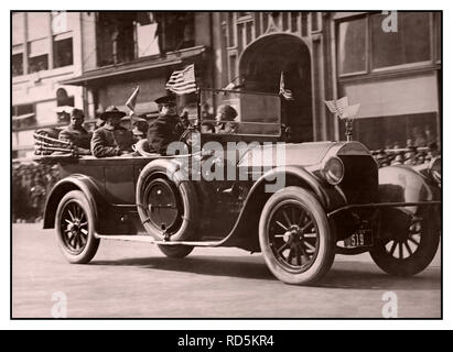 Feb. 17, 1919 Wounded soldiers of the 369th ride in their victory parade. Harlem Hell Fighters of the 369th 1918-1919 The 369th Infantry Regiment was the first African-American regiment to fight in World War I. First constituted on June 2, 1913 as the 15th New York Infantry Regiment of the New York Army National Guard, it was renamed to the 369th in 1918. Harlem Hellfighters The black heroes of the 369th… - Stock Photo