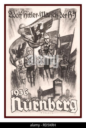 Vintage 1936 Nazi Nürnberg Rally Poster with Hitler Youth carrying Swastika Flags set into the German Eagle - Stock Photo